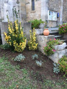 Plantation au pied de la statue du cardinal Marty